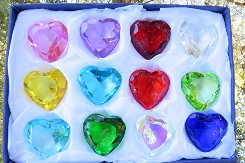 Heart Diamond Jewel Paperweight Cut Box Set 12pcs - Cut Paperweight Diamond