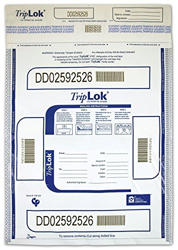 TRIPLOK 12 X 16 CURRENCY DEPOSIT BAG (No Pockets) (White)