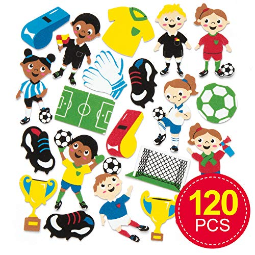 Baker Ross Self-Adhesive Foam Soccer Decoration Stickers | Kids Fun Arts and Crafts Project | No Glue or Scissors Needed | Pack of 120 Football Pieces