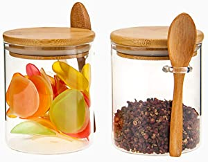 Set of 2 Clear Glass Storage Canister with Wooden Spoon 420ML/15Oz, Airtight Lid Sealed Small Glass Container Jar with Scoop for Bath Salt Holder, Sugar, Spice, Coffee, Matcha Tea, Condiment, Pepper