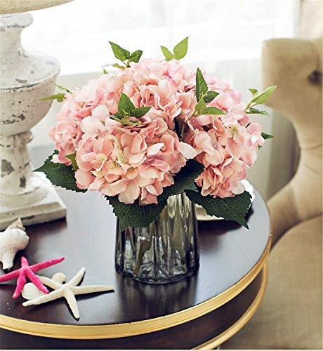 Felice Arts Artificial Silk Flowers California Fake Beautiful Hydrangea Bunch Bouquet Flower for Home Wedding Decor Pack of 3, Pink