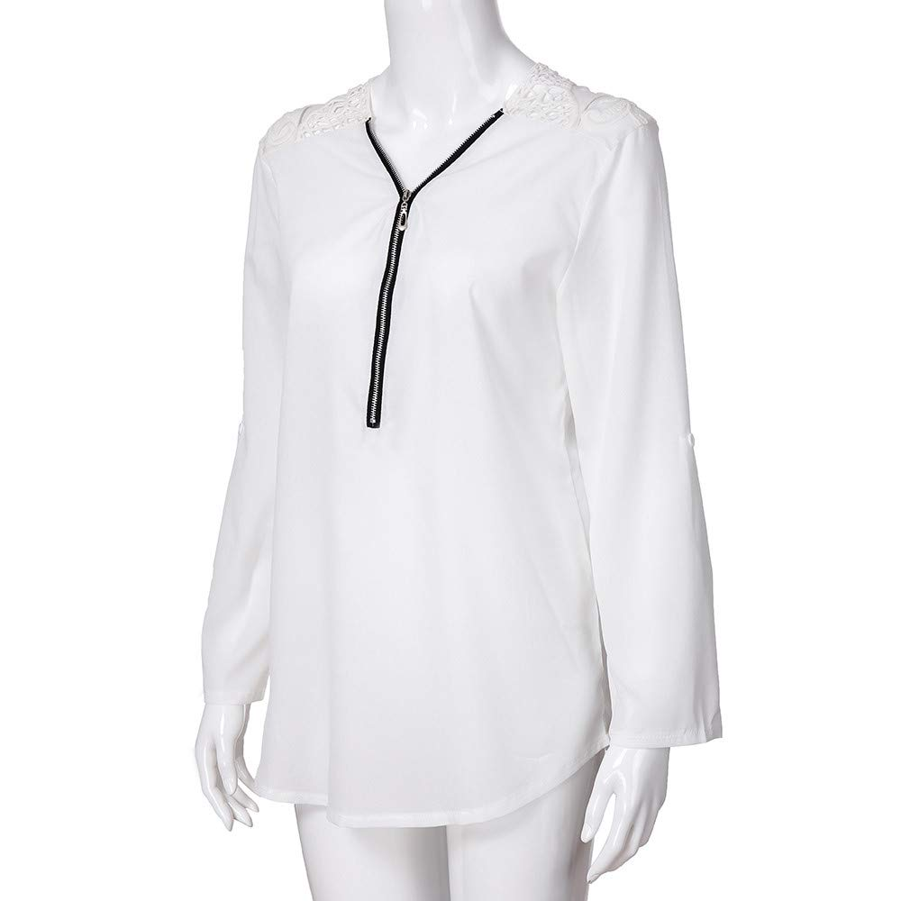 07372da8cfcf4 OrchidAmor Womens Lace Casual Tops Shirt Ladies V Neck Zipper Loose ...