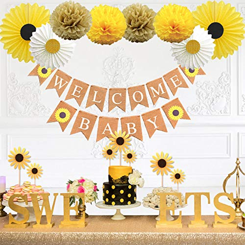 Baby Shower Part (KeaParty Sunflower Baby Shower Party Decorations Supplies Kit, Sunflower Welcome Baby Banner, Yellow Sunflowers Cupcake Toppers, Tissue Paper Fans, Pom)