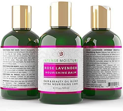 Botanical Hair Growth Lab Oil for Hair Loss Prevention Postpartum Alopecia Rose - Lavender Intense Moisture Nourishing 100% Pure Organic with Argan Oil Vitamins for Dry Damaged Hair 4 Fl Oz