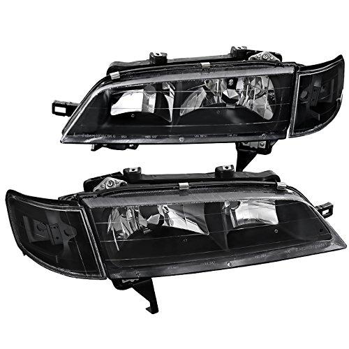 Fit Honda Accord JDM Black Headlights+Clear Corner Turning Signal Lamps Pair