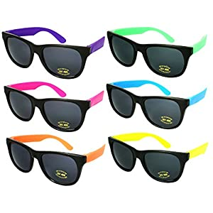 Edge I-Wear 6 Pack Neon Party Sunglasses with CPSIA certified-Lead(Pb) Content Free and UV 400 Lens 5402RA-SET-6(Made in Taiwan)