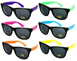 Edge I-Wear 6 Pack Neon Party Sunglasses with CPSIA certified-Lead(Pb) Content Free UV 400 Lens(Made in Taiwan)5402RA-SET-6