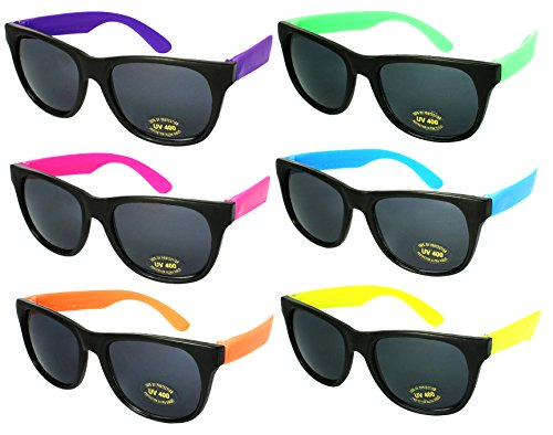 Edge I-Wear 6 Pack Neon Party Sunglasses with CPSIA certified-Lead(Pb) Content Free and UV 400 Lens 5402RA-SET-6(Made in - Color Wayfarer