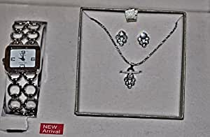Jewelry Set For Women by Cote d' Azur - Watch, Necklace and Matching Earrings