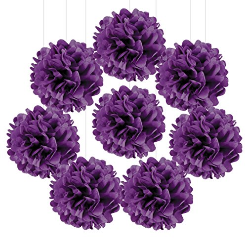 Andaz Press Tissue Paper Pom Poms Hanging Decorations, Royal Purple, 6-inch, 8-Pack, Colored Quinceanera Graduation Sweet 15 16 Party Decorations -