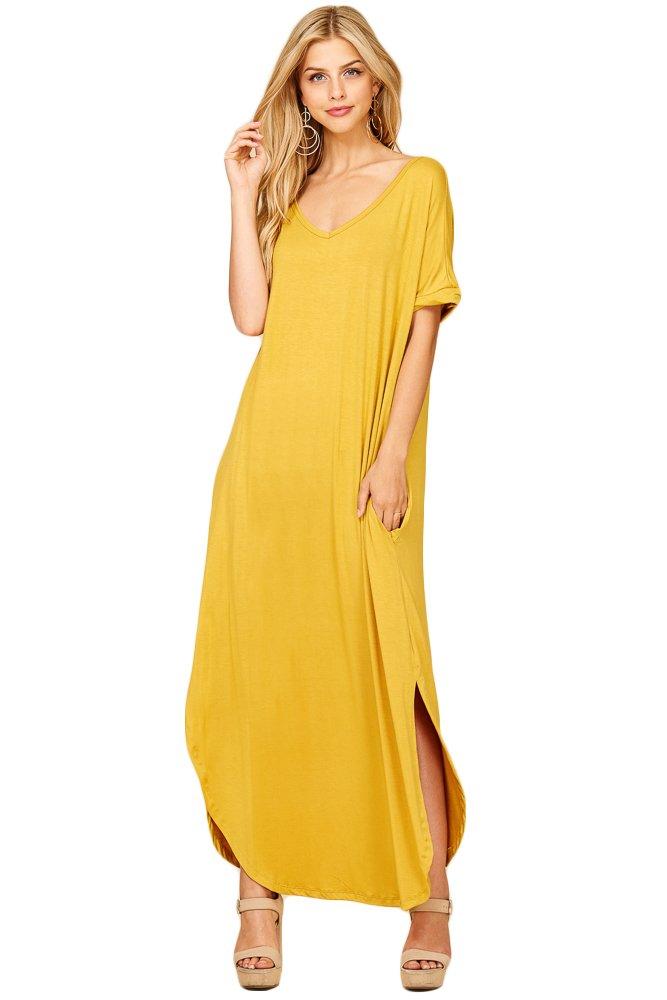 9f15a1aaf5 Galleon - Annabelle Women s Casual Short Sleeve Curved Hem Split Pocket  Maxi Dress 2X-Large Mustard D5210X