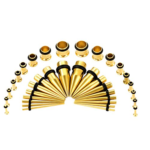 CABBE KALLO 36PCS Ear Gauge Stretching Kit Stainless Steel Tapers and Plugs Set Eyelet 14G-00G (Goldtone)