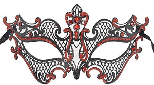 Hagora, Women's Inner Bloody Mary Black Red Tone Rhinestoned Venetian - Mask Bloody Mary