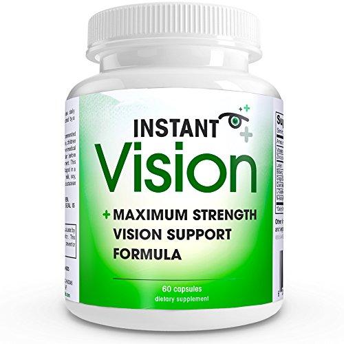 Vision instantanée COMPLETE naturel Soutien yeux Formule MAXIMUM Force Vision Support mélange de lutéine, Extrait de pépins, L-Taurine, vitamine A (bêta-carotène), quercétine Dihydrate, Myrtille Extrait, N-acétyl-L-cystéine, et le zinc (aspartate) dans Un