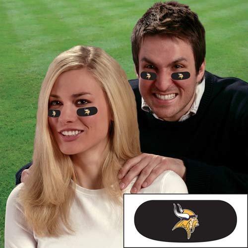 NFL Team Logo Eye Blacks - 3 or 6 Pairs of Officially Licensed Eyeblacks- Show Off Your Favorite Football Team Spirit (Minnesota Vikings 6 Pairs)