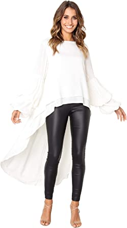 Landove Camisas Asimetricas Mujer Blusa Gasa Manga Larga con Volante: Amazon.es: Ropa y accesorios