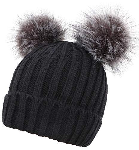 AbbyLexi Winter Cute Ski Knit Warm Fleece Beanie Hat for Women