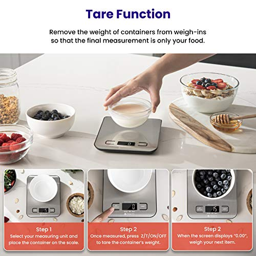 Etekcity Food Kitchen Scale, Digital Grams and Ounces for Weight Loss, Baking, Cooking, Keto and Meal Prep, Small, 304 Stainless Steel