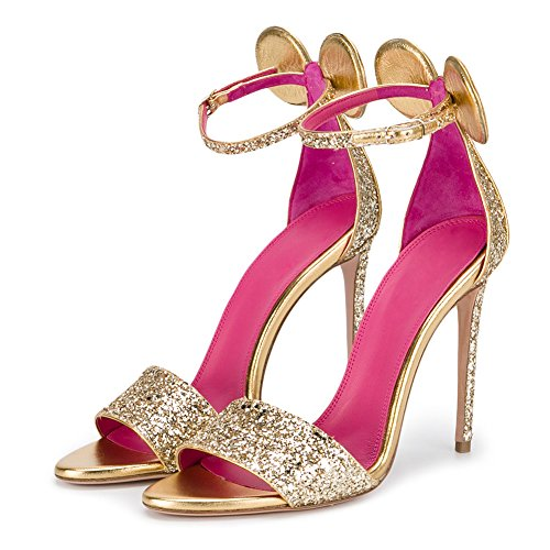 Sandalen Gold mit Open Stiletto Onlymaker Damen Schuhe Back High Closed Toe Heels Ohr qUtOvAR