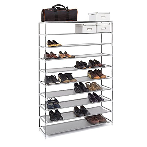 (10 Tier) Extra Wide Gray Shoe Rack Shelf Tower Storage Organizer Great for Dorms Closets Pantry Holds up to 50 Shoes
