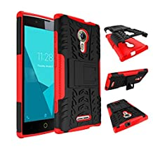 Qiaogle Phone Case - Shock Proof TPU + PC Hybrid Armor Stents Case Cover for Alcatel One Touch Flash 2 (5.0 inch) - HH10 / Black & Red