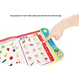 Wuao ABC Sound Book Touch and Teach Lettets and Words Learning Book, Fun Educational Toy, Learning Activities for English Alphabet, Words, Numbers, Animals, Fruit, Vehicle for Toddlers, Preschooler