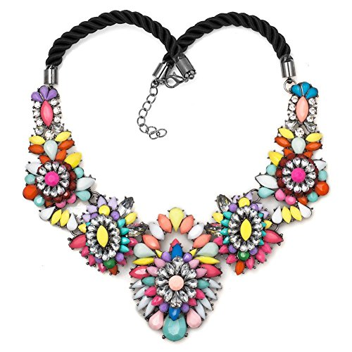 DemiJewelry Flower Statement Necklace Rhinestone Muticolor Rope Chunky Bubble Bib Necklaces Women
