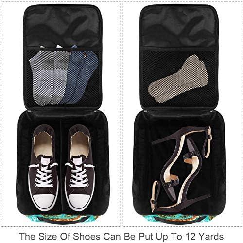 MYSTAGE シューズバッグ 靴箱 シューズケース シューズ袋 旅行収納ポーチ 二層式 靴入れ 小物収納 収納ケース アウドドア 出張 旅行 鹿 トウヒ 雪片 枝