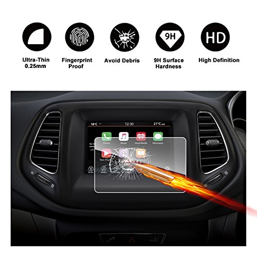 2017 2018 Jeep Compass Uconnect Touch Screen Car Display Navigation Screen Protector, RUIYA HD Clear TEMPERED GLASS Car In-Dash Screen Protective Film (7-Inch)