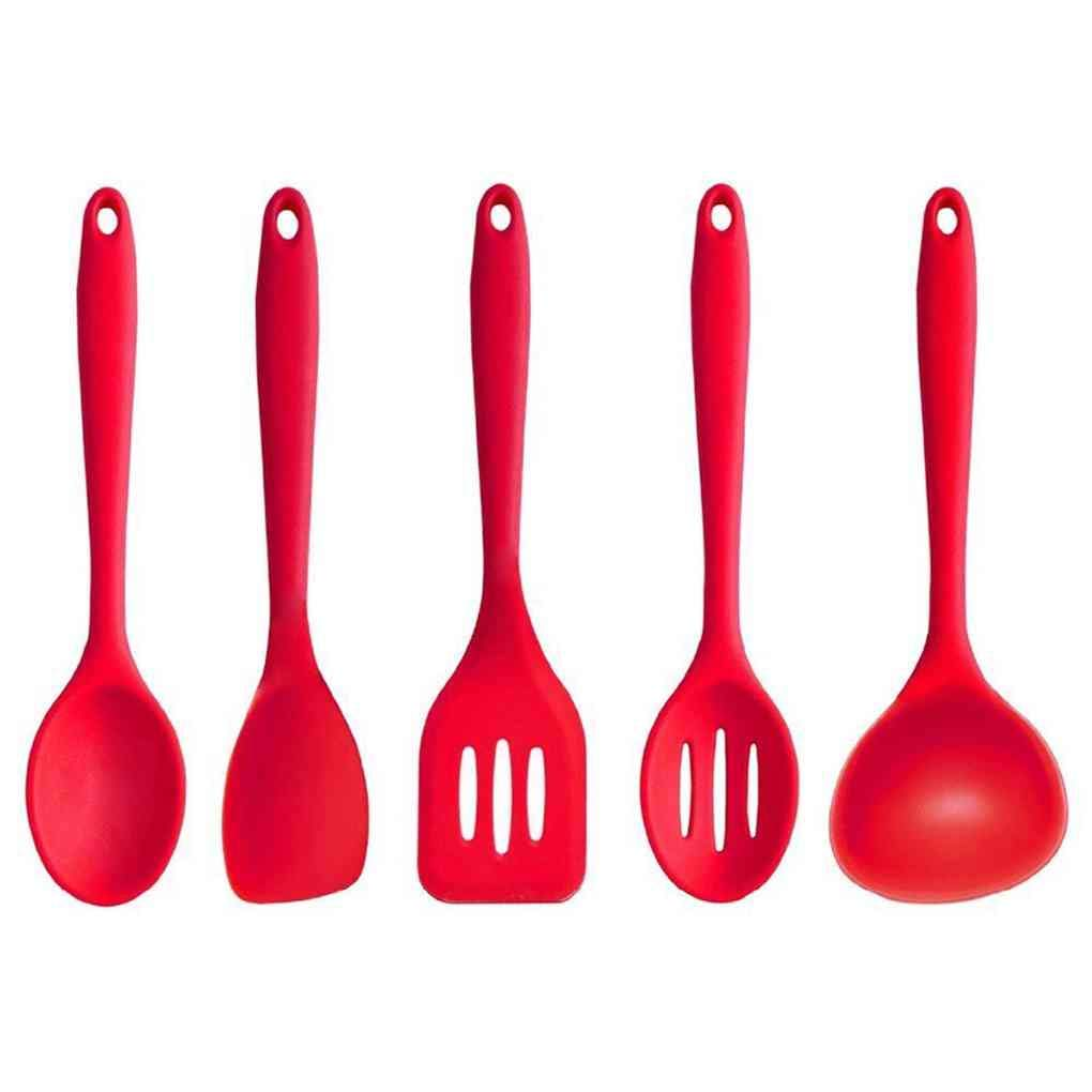 Dergtgh 5 Piezas Set Red Esp/átula Cuchara Cuchar/ón Turner ranurado Utensilios de Cocina Utensilios de Cocina Gadgets Silica Gel Cocinar Fuentes Herramientas