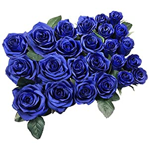 DALAMODA Artificial Silk Flowers Rose Heads DIY for Wedding Bridesmaid Bridal Bouquets Bridegroom Groom Men's Boutonniere and Corsage,Shower Party Home Decorations 24pcs (Royal Blue) 23