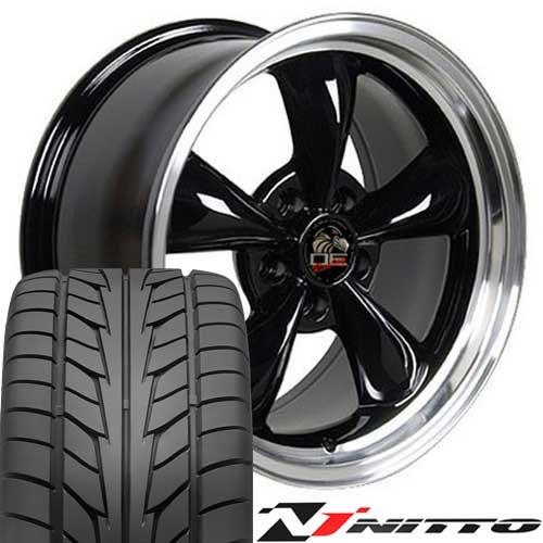 SET of 17x8 Wheel & Tire Fit Ford Mustang- Bullitt Style Black Rims w/Nitto Tires, Hollander (Mustang Black Fr500 Rims)
