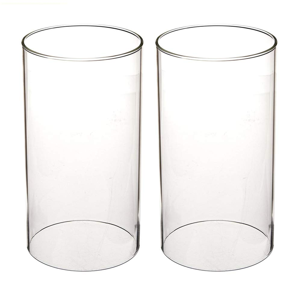 TEN SQUARE Glass Candle Chimney Open End Glass Hurricane Candle Holders Glass Cylinder Vases Lamp Shade Open 3.55