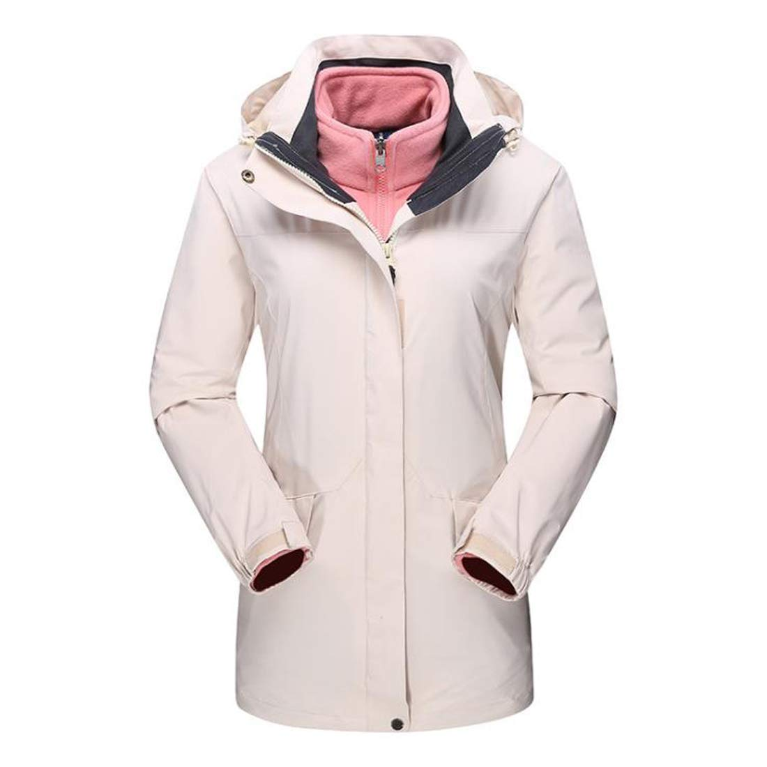 2 AUSWIEI Outdoor Ladies' Jacket, TwoPiece Long Section, Warm Winter Warm Padded Trench Coat (color   01, Size   XXL)