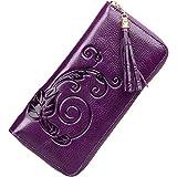 PIJUSHI Designer Floral Wallet Clutch Genuine Leather Wallet for Women Purse (91866 Violet)