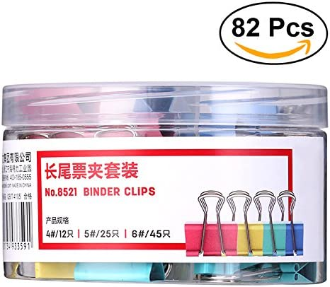 NUOLUX Fermacarte Clip Doppio Ferma Carta in Metallo 4cm 5cm 6cm Colori Assortiti 82 Pezzi