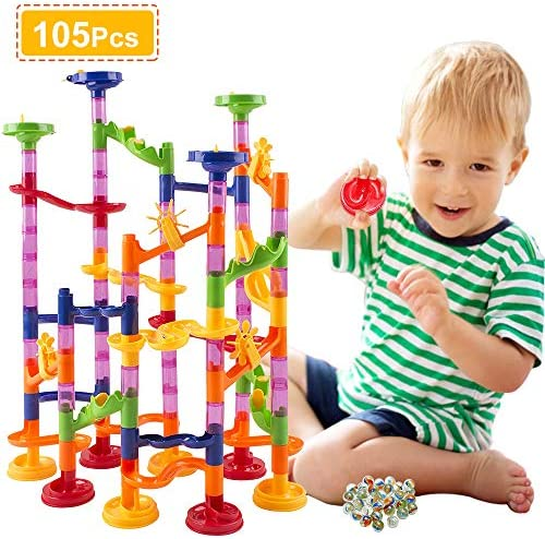 pozzolanas Marble Run Toy105 Pcs Marble Race Track for Kids Building Block ToysSTEM Learning Toy Marble Maze Games75 Translucent Marbulous Pieces +30 Glass Marbles