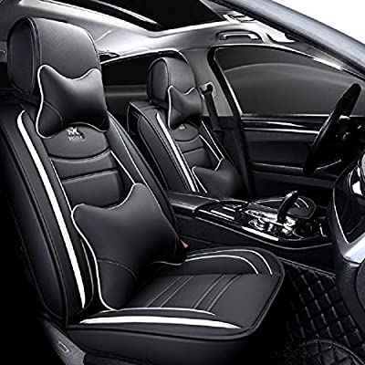 OUTOS Luxury Leather Auto Car Seat Covers 5 Seats Full Set Universal Fit(Luxurious Black-White): Automotive