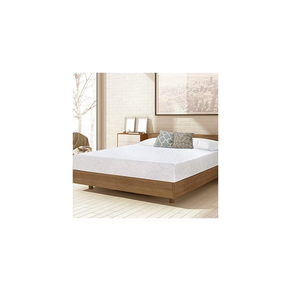 PrimaSleep 7 Inch Dura Deluxe Comfort Memory Foam Queen, White Mattress