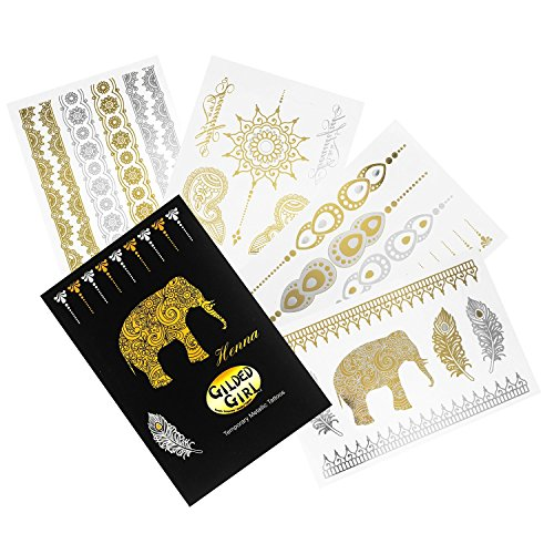 Premium Henna Metallic Tattoos - Gold and Silver - Flash Temporary Bling - Jewelry Bling Body