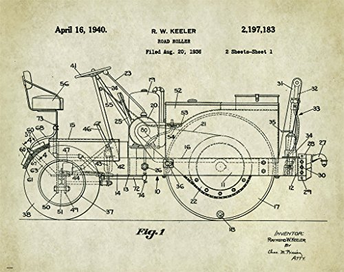 Caterpillar Tractor Patent Poster Art Print 11X14 Wall Decor Picture Vintage Construction Heavy Equipment
