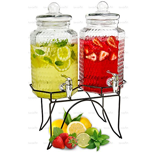 Tabletop Beverage - Double Cold Beverage Dispensers – Two 1 Gallon Hammered Glass Pitchers on 1 Metal Stand - Elegant Party Buffet Centerpiece for Iced Tea, Lemonade and Punch Drinks - by Lux 'n Lavish