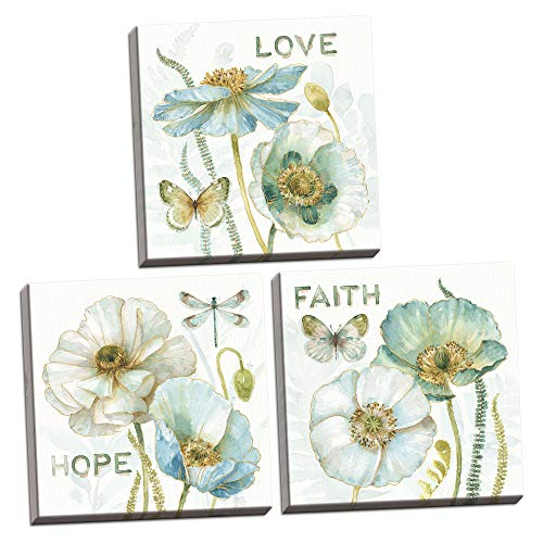 Gango Home Decor Contemporary My Greenhouse Flowers Faith, Hope, Love by Lisa Audit (Ready to Hang); Three 12x12in Hand-Stretched Canvases