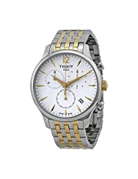 Tissot T-Classic Tradition Chronograph White Dial Two-tone Mens Watch T0636172203700
