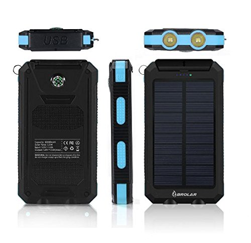 Solar-Charger-BROLAR-Solar-Power-Bank-10000mAh-with-2LED-Light-Carabiner-Compass-External-Backup-Battery-Pack-Dual-USB-Solar-Panel-Charger-Portable-for-Emergency-Camping-Travel-Outdoor