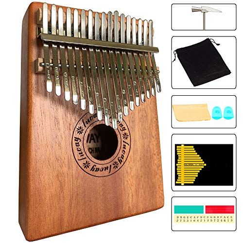 Luvay Kalimba 17 key Thumb Piano, Solid Mahogany Body (Light Color)