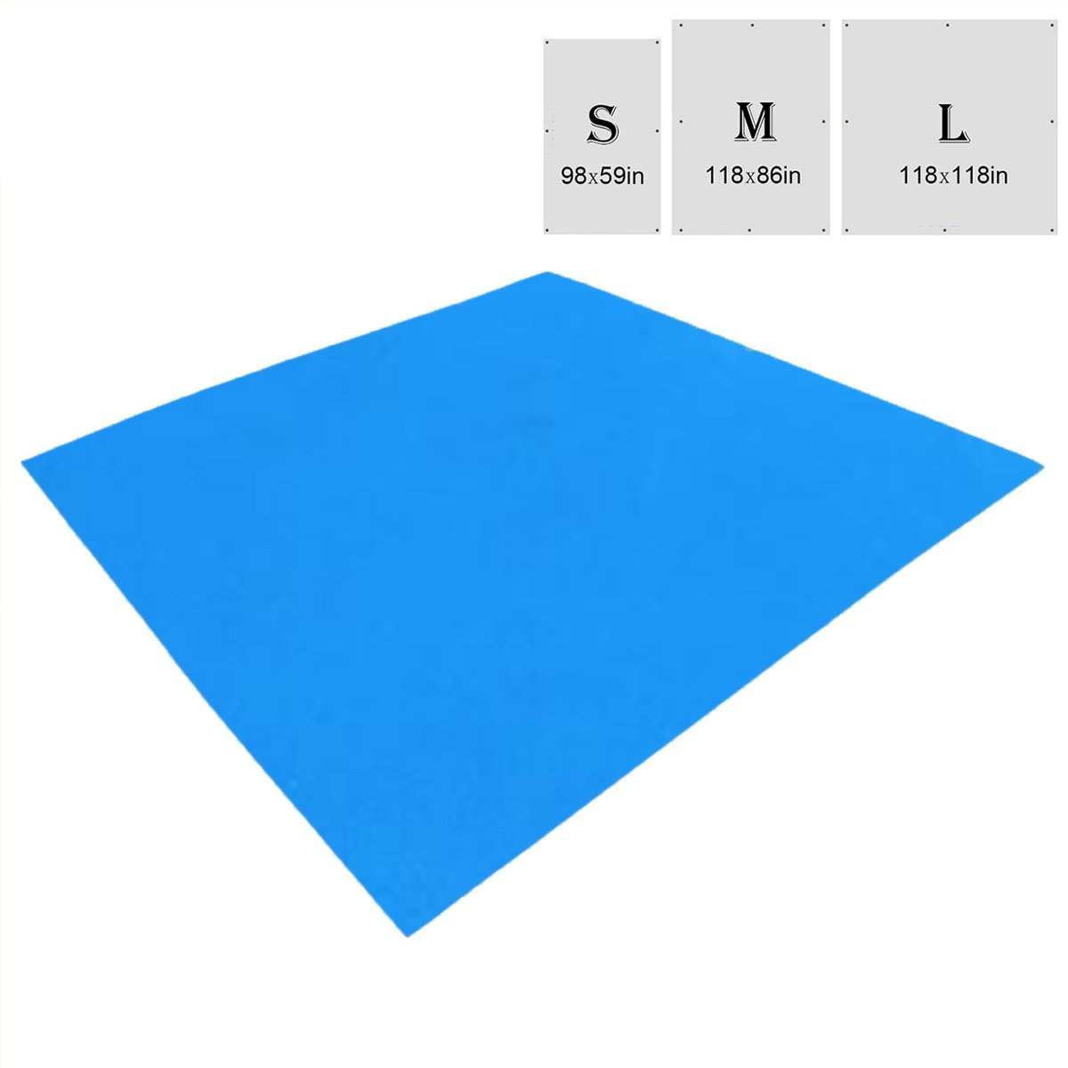 TRIWONDER Waterproof Hammock Rain Fly Tent Tarp Footprint Camping Shelter Ground Cloth Sunshade Mat for Outdoor Hiking Beach Picnic (Blue, S - 98 x 59in) by TRIWONDER