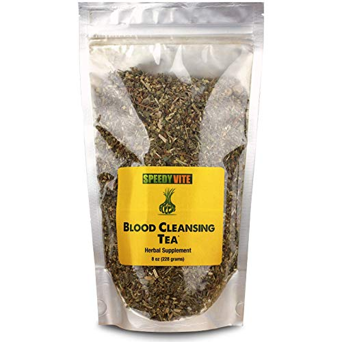 SpeedyVite Blood Cleansing Tea Organic -Cleanses & supports natural removal of excess waste chemicals from the blood stream Chaparral Echinacea Chamomile.. Herbal Supplement (8oz) (Best Herbs For Blood Flow)