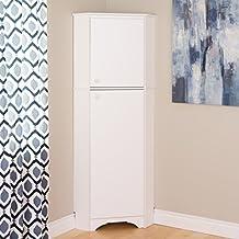 Prepac Elite Tall 2 Door Corner Storage Cabinet, White