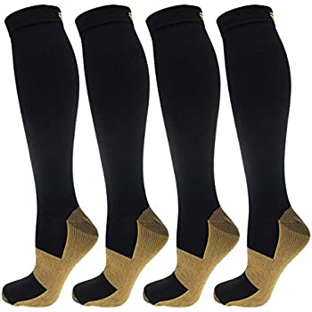 b239d5b0f8 4 Pairs of Miracle Copper Infused Anti-Fatigue Compression Knee-High Health  Socks